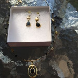 Gold Colored necklace and earrings